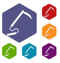 Kusarigama icons set hexagon vector