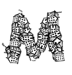 Letter m made from houses alphabet design vector
