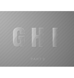 letters made of glass transparent classic font vector image vector image