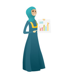 Muslim business woman showing financial chart vector