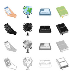 phone in hand globe translation button vector image