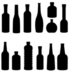 silhouette of bottle set vector image vector image