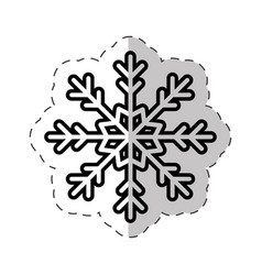 Snowflakes winter ornament cut line vector