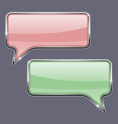 speech bubbles pink and green 3d icons with vector image vector image