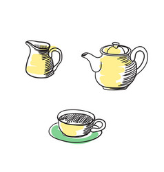 Tea service hand drawn isolated icon vector