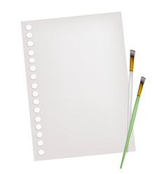 Two Artist Brushes with A Blank Page vector image vector image