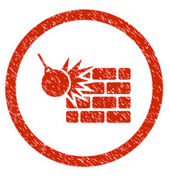 Wall destruction rounded grainy icon vector