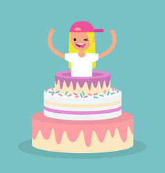 Young female character jumping out of a cake vector