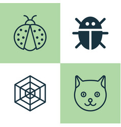 Zoo icons set collection of beetle cobweb vector