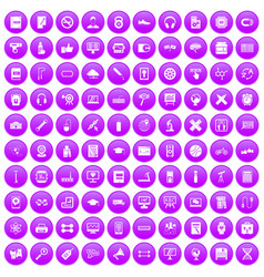 100 training icons set purple vector