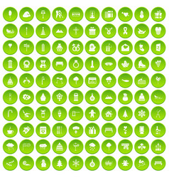 100 winter icons set green circle vector
