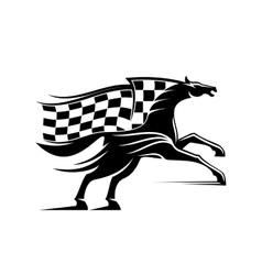 Racehorse with racing flag icon vector image