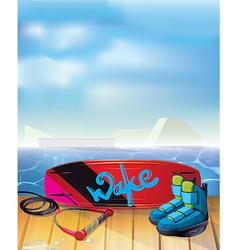Wake boarding park background vector