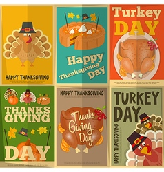 Set of vintage turkey day mini posters vector