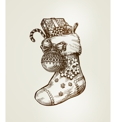 Christmas sock with gifts sketch vector