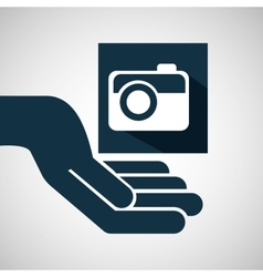 Hand hold photographic camera e-commerce icon vector