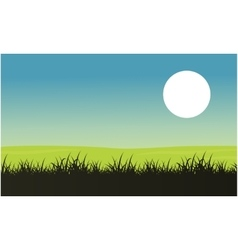 Silhouette of grass with moon landscape vector