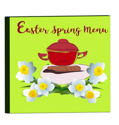 cover of menu with narcissus blossoms vector image