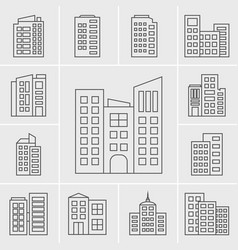 Line building icons set vector