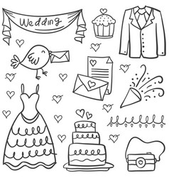 Doodle of wedding object various vector