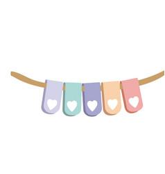 Set pastel palette decorative pennants for party vector