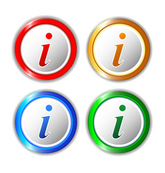 Set of different information buttons for design vector