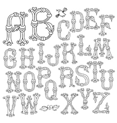 Whimsical hand drawn alphabet letters vector