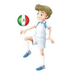 A soccer player using the ball with the flago f vector image