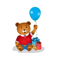 Happy birthday greeting card with bear vector