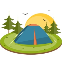 Tent in the meadow flat vector