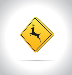 Deer crossing - road sign icon vector