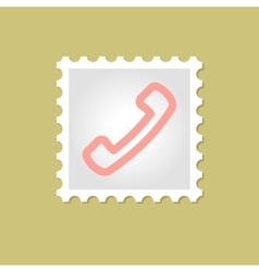 Telephone handset stamp vector