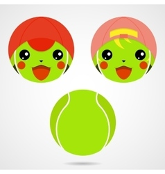 Character tennis ball cute laughing boy and a vector
