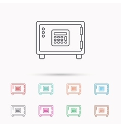 Safe icon money deposit sign vector