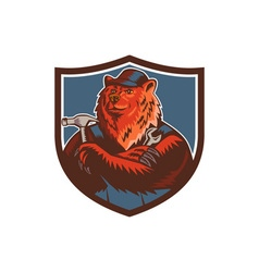 Russian bear builder handyman crest woodcut vector