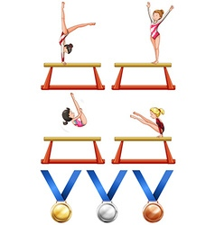 Gymnastics and woman athletes vector