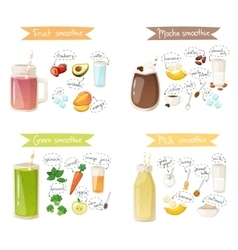 Smoothie drink recipe set vector