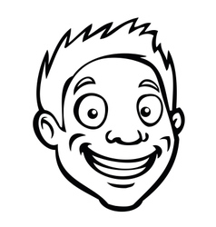 Black and white male cartoon head vector image vector image