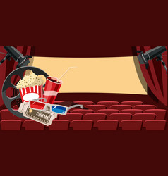 Cinema movie hall icons set cartoon style vector