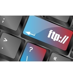 Computer keyboard with ftp key technology vector image