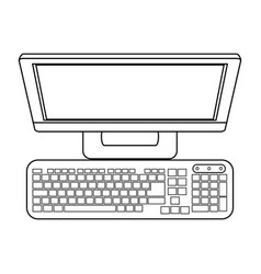 Computer monitor keyboard with blank screen vector