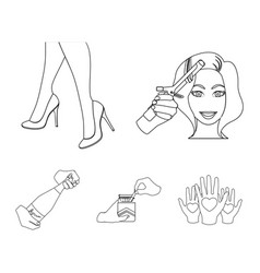 Curling hair high heels and other web icon in vector