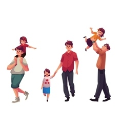 Dad with his little daughter playing and walking vector image vector image