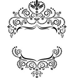 Dark ornamental frame on white background vector image vector image