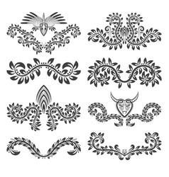 design ornamental elements and labels set floral vector image vector image