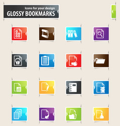 Documents bookmark icons vector