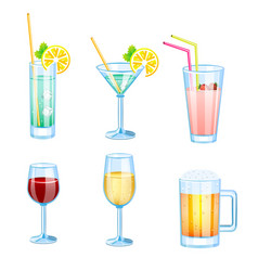Drinks set with different beers and cocktails vector
