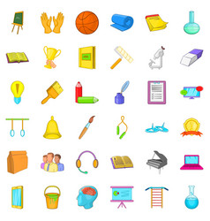 Education icons set cartoon style vector