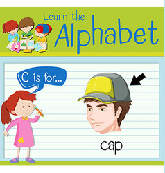 Flashcard letter c is for cap vector