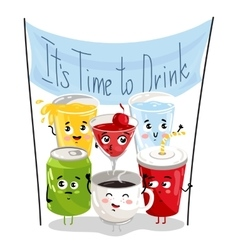 Funny drink cartoon character set vector image vector image